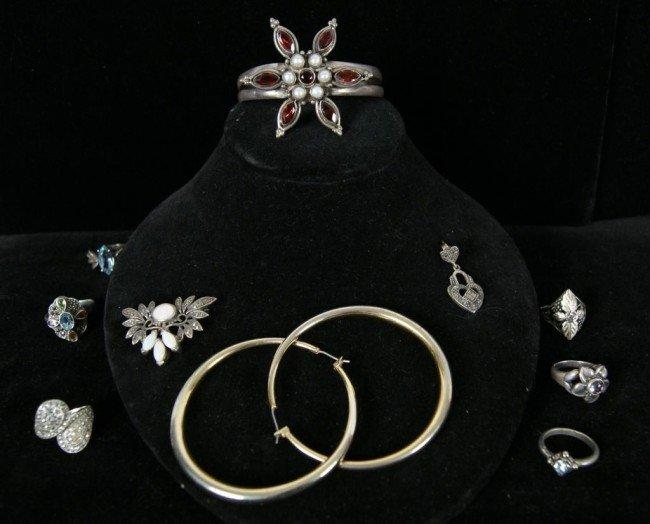 11: Silver amethyst bracelet, hoop earrings, marcasite