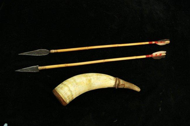 20: 2 Arrows & powder horn Provenance: Robert Owen Brow