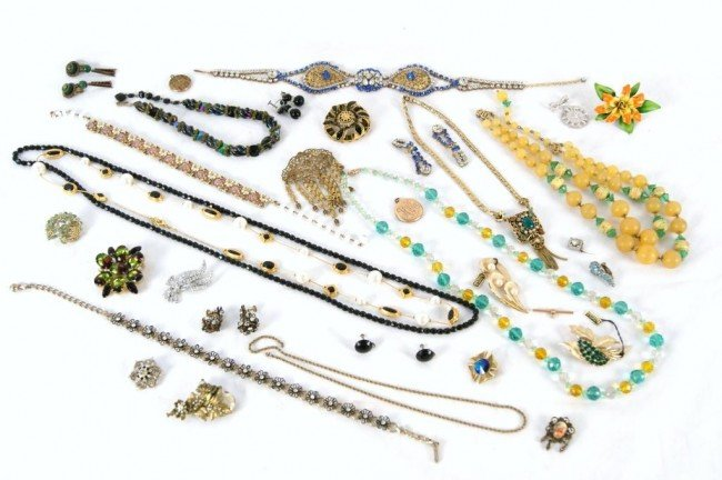 3: Haskell, Trifari, Hobe Lot of Costume jewelry