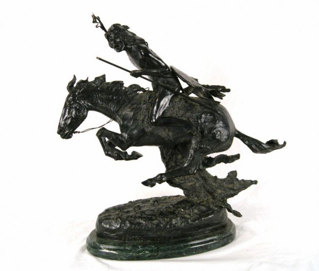 "21: Remington Indian on Horseback 23.5"" Bronze"