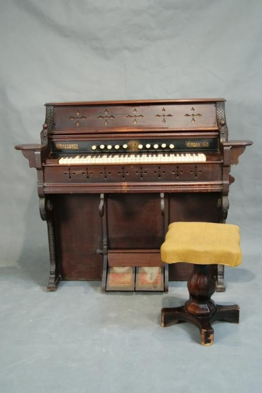 378: Antique Pump organ - ca 1870's with stool