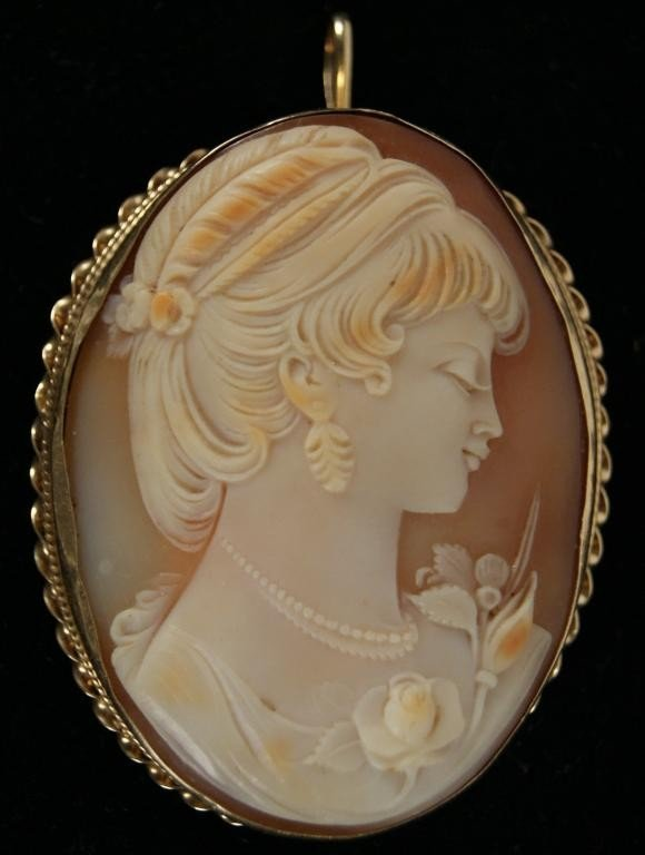 5: Large shell & gold cameo pendant