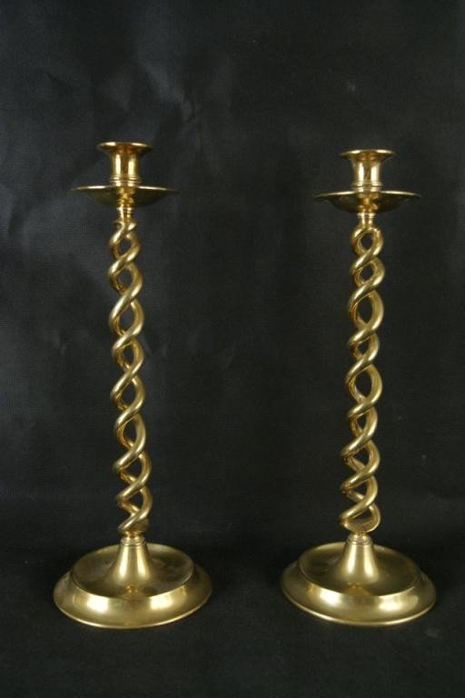"7: Pair 19th c English candle sticks - rope twist 16"""