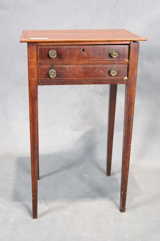 8: Early 19th c. 2 Drawer side table with solid top ori