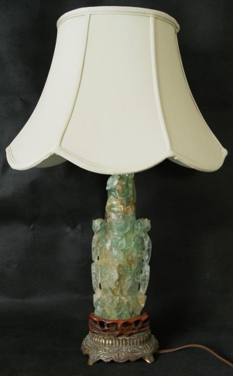 14: Jadeite vase oriental lamp with Jadeite lid