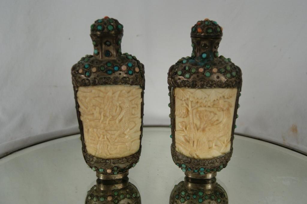 15: Pair Oriental Carved Ivory Gemstone snuff bottles P