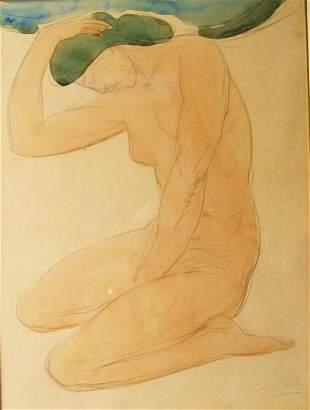"""201: Auguste Rodin (1840-1917) watercolor - 20""""x15"""" Pro"""