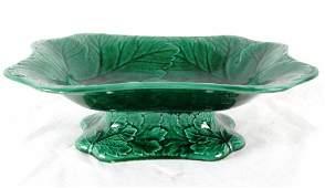 351 Wedgewood Majolica glaze pedestal bowl Cabbage lea