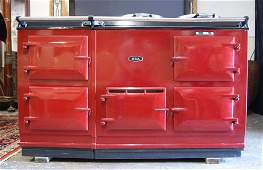 """239A: AGA four oven 58"""" enameled radiant heat Cooker"""