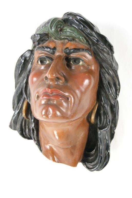 "3: Ceramic Art Nouveau Indian head 14"" x 10"""