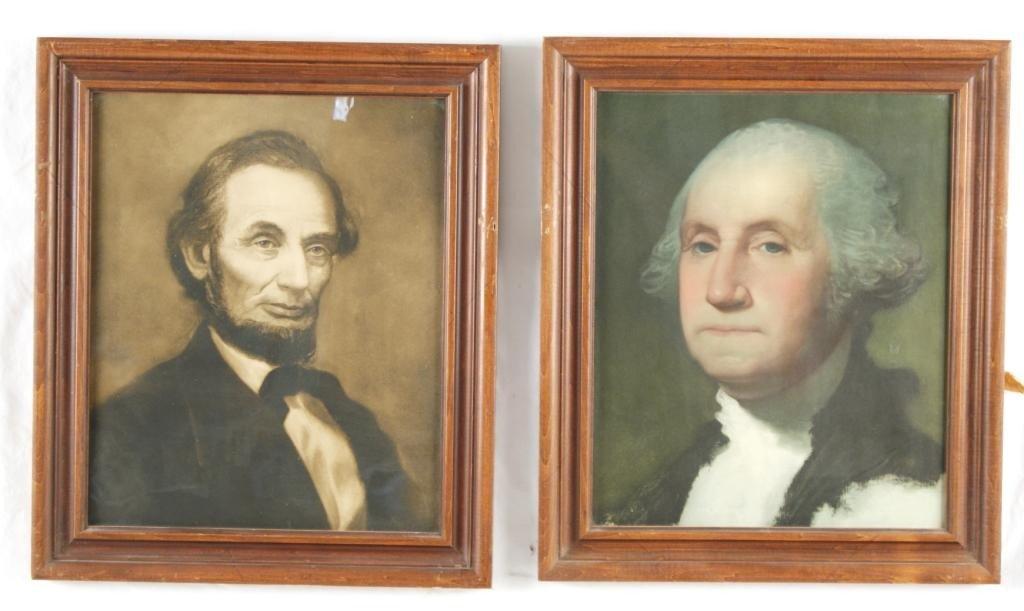 "4: Lincoln & Washington 16"" x 13"" lithographs - 2"