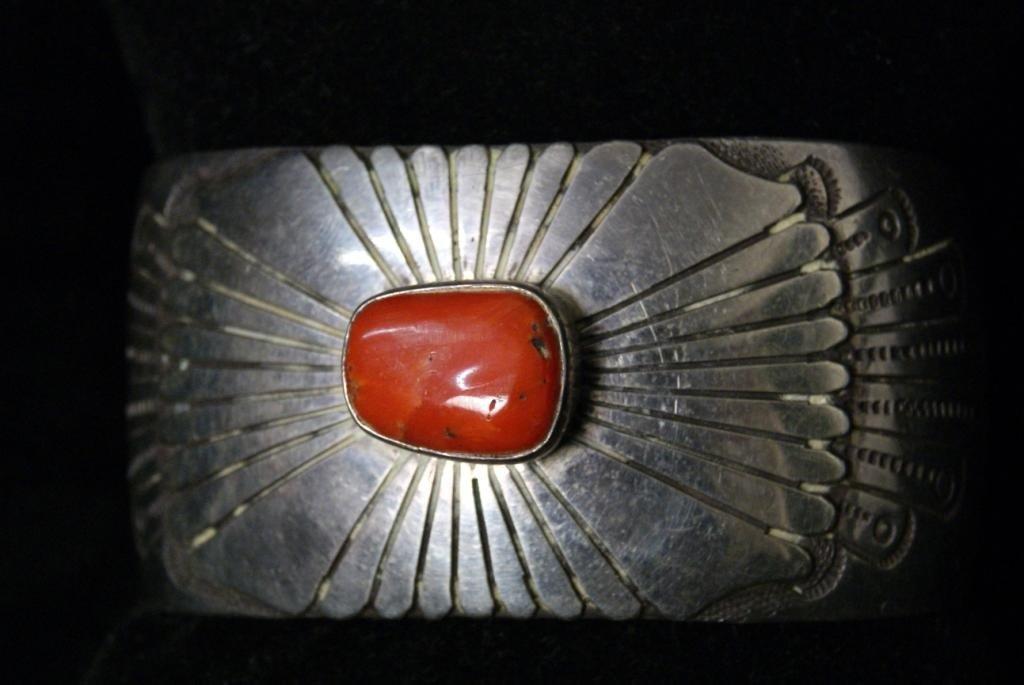 12: Signed Henry J. Billie coral & silver bracelet -