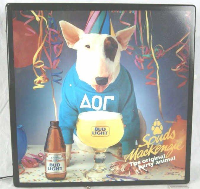 20: Spuds MacKenzie back lit bud light beer sign