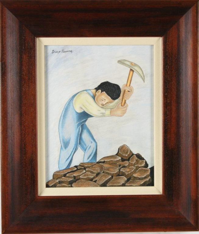191: Diego Rivera (1886 - 1957) Drawing- 'Pica pedrero'