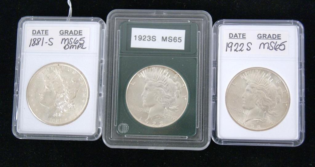 8: 1881-S Morgan silver dollar  and 1922 & 23 Peace
