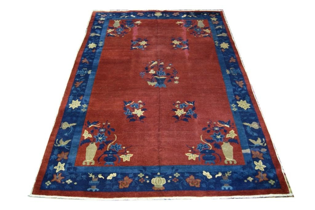 22: Chines  Art Deco 6' x 9' carpet - Plum color