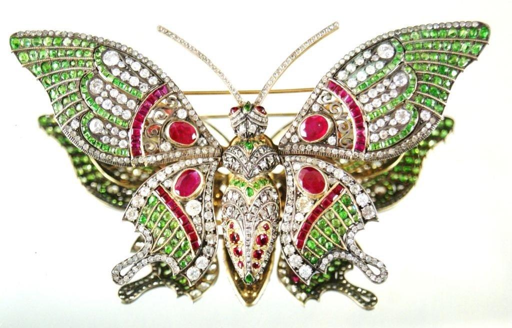 192: En tremblant Gold, Emerald, Ruby & Diamond Brooch