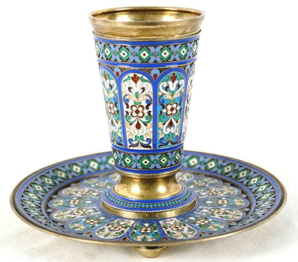200: Khlebnikov Cloisonne gilt silver beaker & saucer