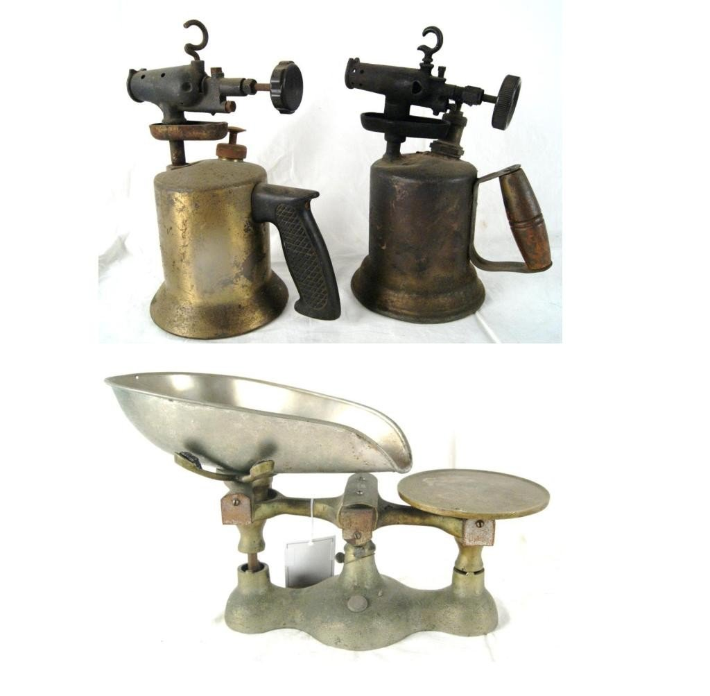 10: 2 Antique blow torches and antique scale