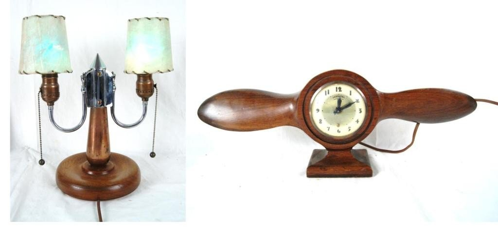 "11: WWII mini propeller clock ""Lintier"" & Shell lamp"