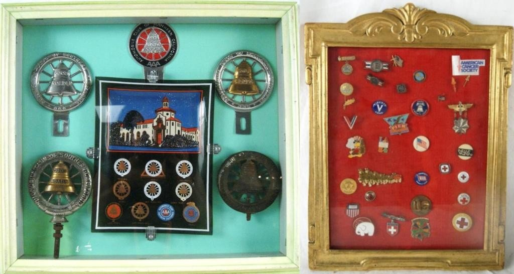 15: Vintage AAA Motor Car emblems and pins cased
