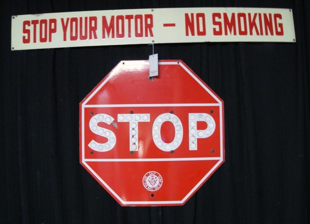 17: Vintage stop sign, engine sign