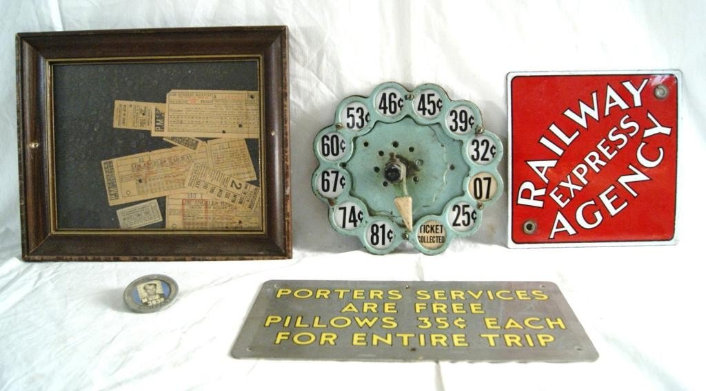 18: RR collectibles, enamel sign, LA rail tickets...