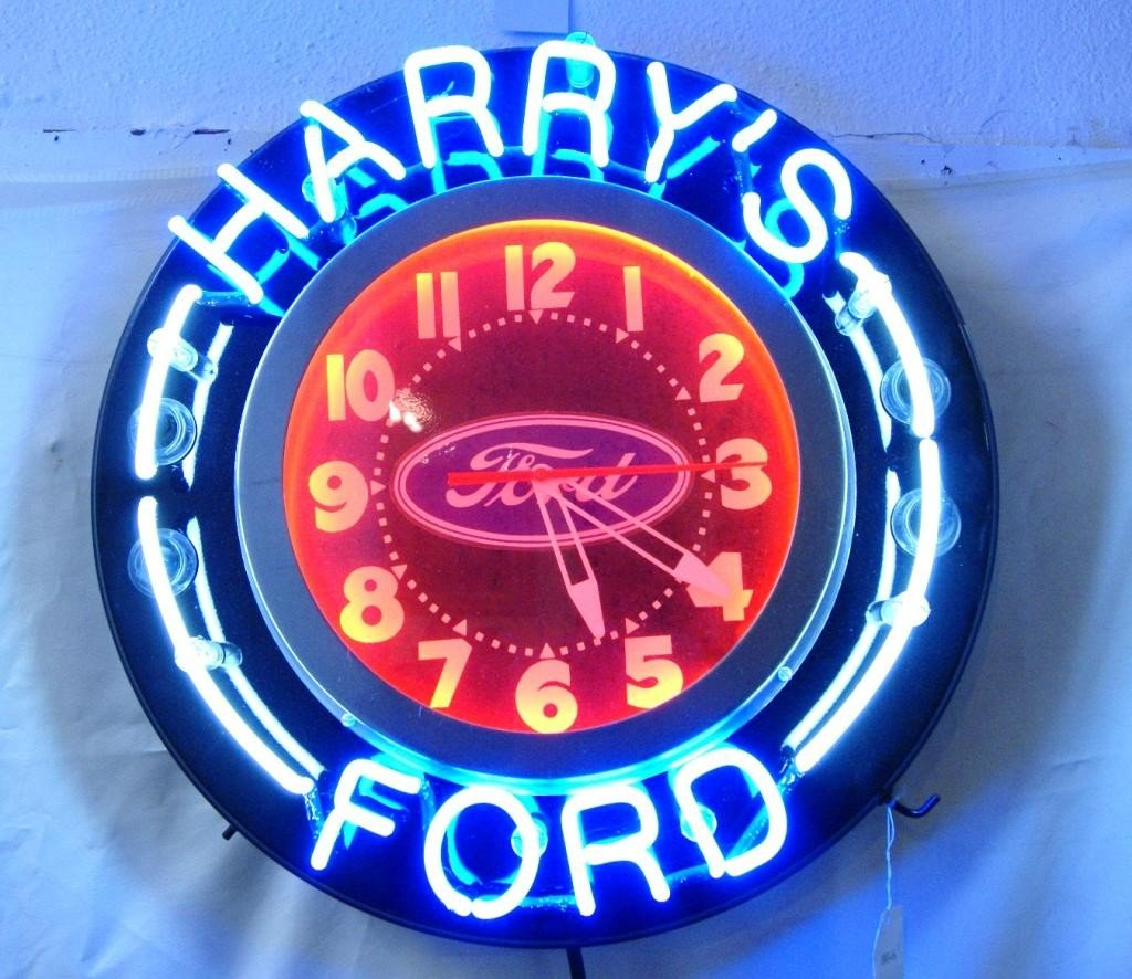25: Neon Ford clock - new