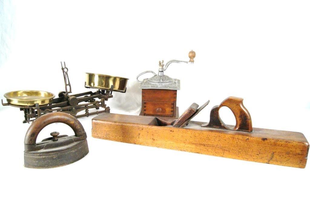 29A: Coffee mill, scales, wood plane, sad iron