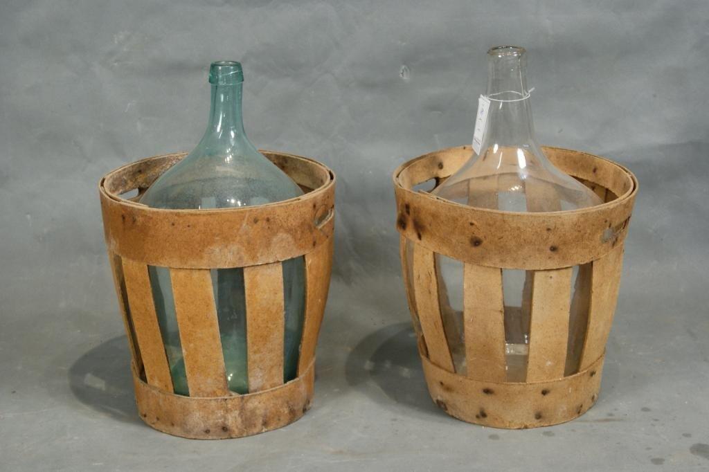 30: Antique large wine bottles in crates 2
