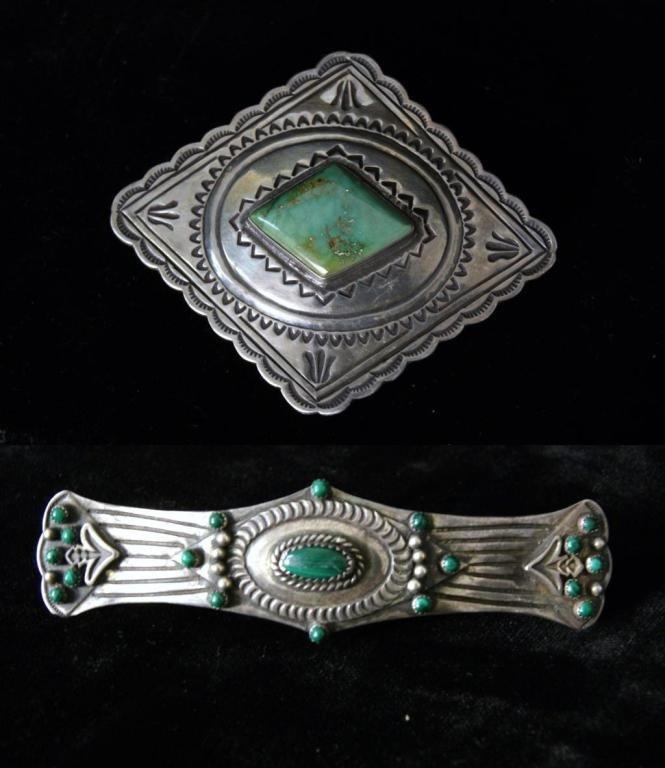 36A: Navajo silver & malachite barrette and bolo tie