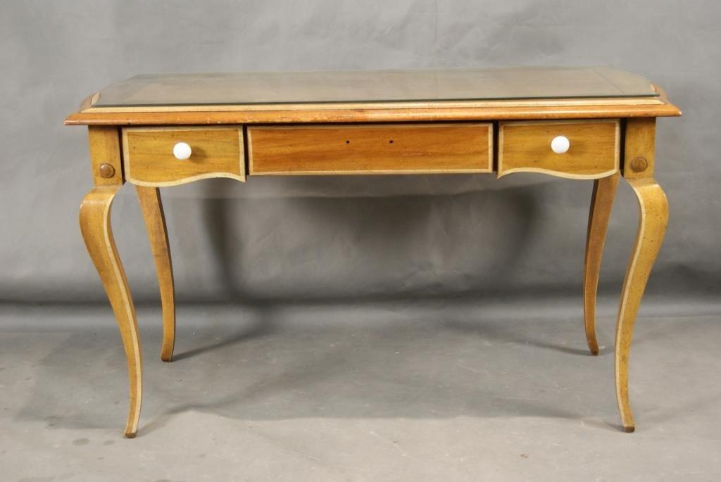 43: Pine desk table w/ glass top