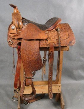 Vintage Keystone Hand Tooled Leather Saddle