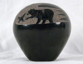 "Gloria Garcia Goldenrod 3""h 3""d Black Etched Pot"