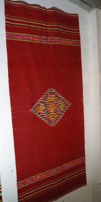 """65: Mexican Red Saltillo blanket 84"""" x 37"""""""