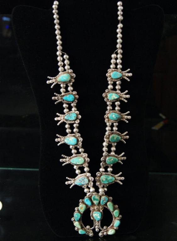 66: Old pawn squash blossom turquoise silver necklace