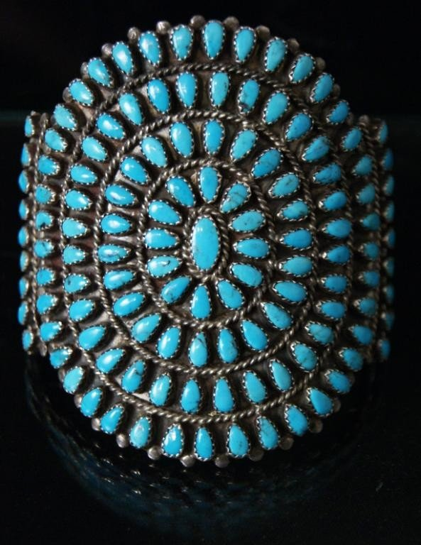 67: Zuni cluster bracelet - w app.140 turquoise stones