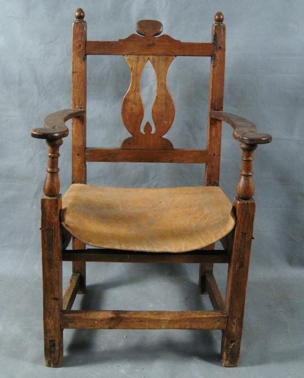 78: Pine Spanish chair w leather seat