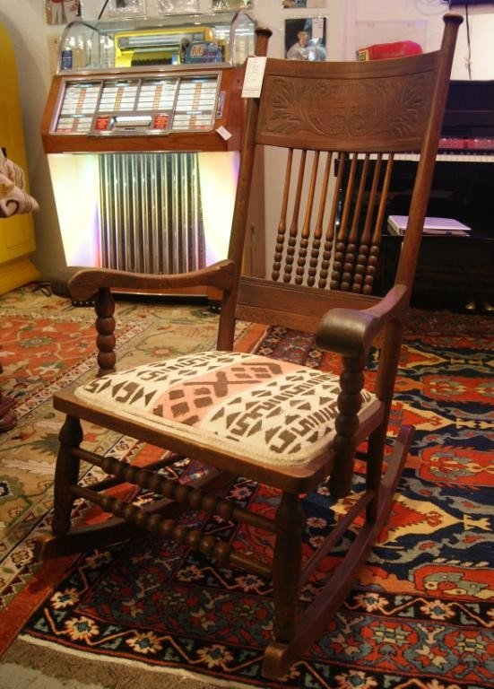 82: American oak antique rocking chair