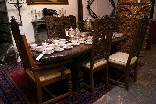 141 Spanish Style Dining Table 8 Chairs