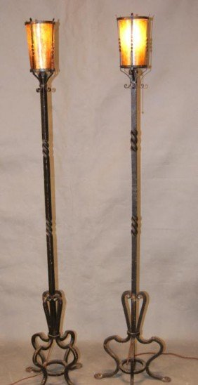 Pair Wrought Iron Spanish Revival Torchere Lamps