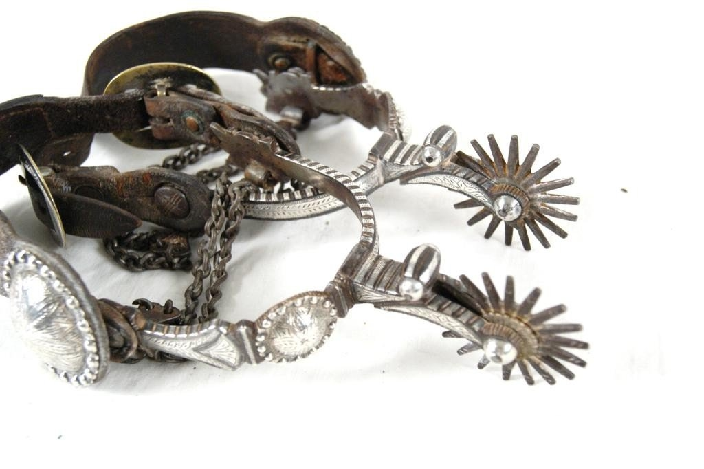 173: Outstanding Antique Silver Engraved Spurs