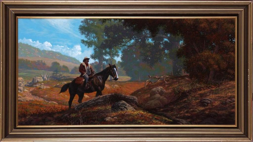 """176: Jim Daly (1940)  24"""" x 48"""" o/c 'a new day'"""