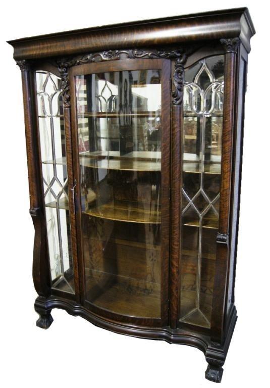 181: Outstanding  Am oak China Cabinet w/ Beveled Glass