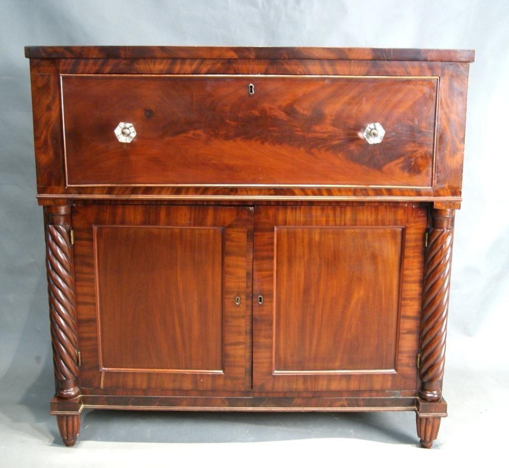 186: Federal mahogany drop front secretary ca 1840