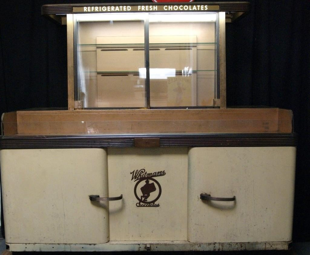 203: Whitman chocolate & candy vintage display cabinet