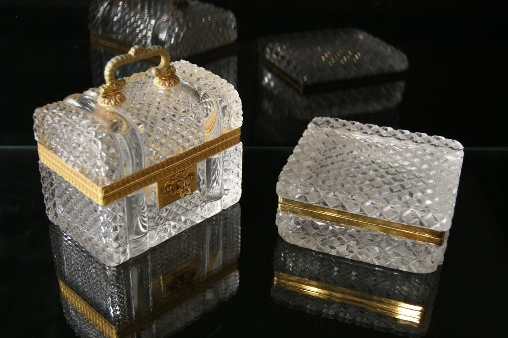 1: 2 Crystal dresser jewel  boxes