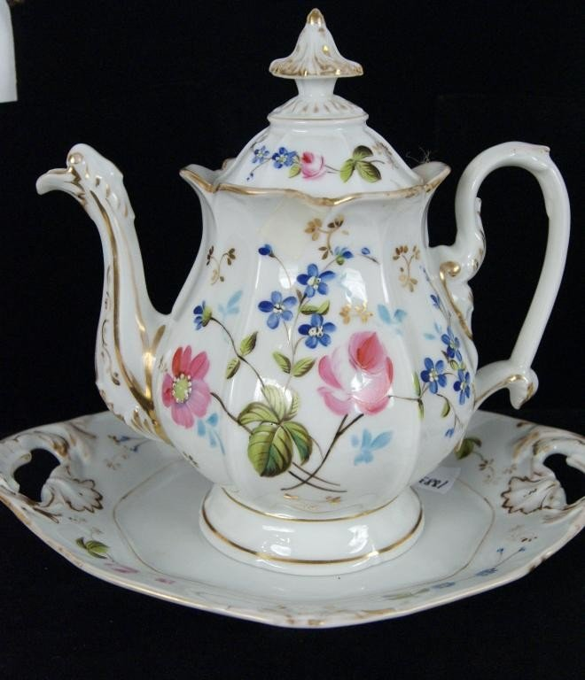 8: Haviland Limoges chocolate pot & tray