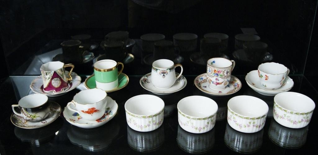 11: Bone china demitasses and Limoges custards