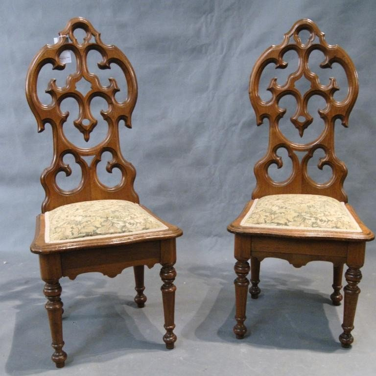12: 19th c Gothic style side Chairs